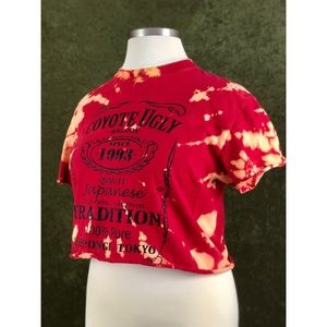 🌈Coyote Ugly tie dye style bleached crop top